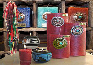 Taos Mountain handcrafted candles are available as ribbon, pillar and square candles, as well as tealites and votives. Choose from unique high desert scents to traditional fragrances.